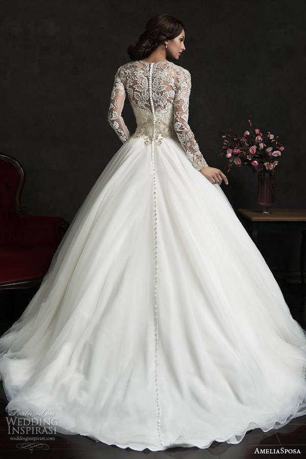 amelia sposa 2015 bridal leonor ball gown weddding dress long sleeve embellished top back