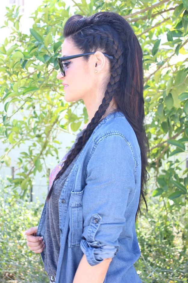 Faux-hawk Hairstyle with French braid