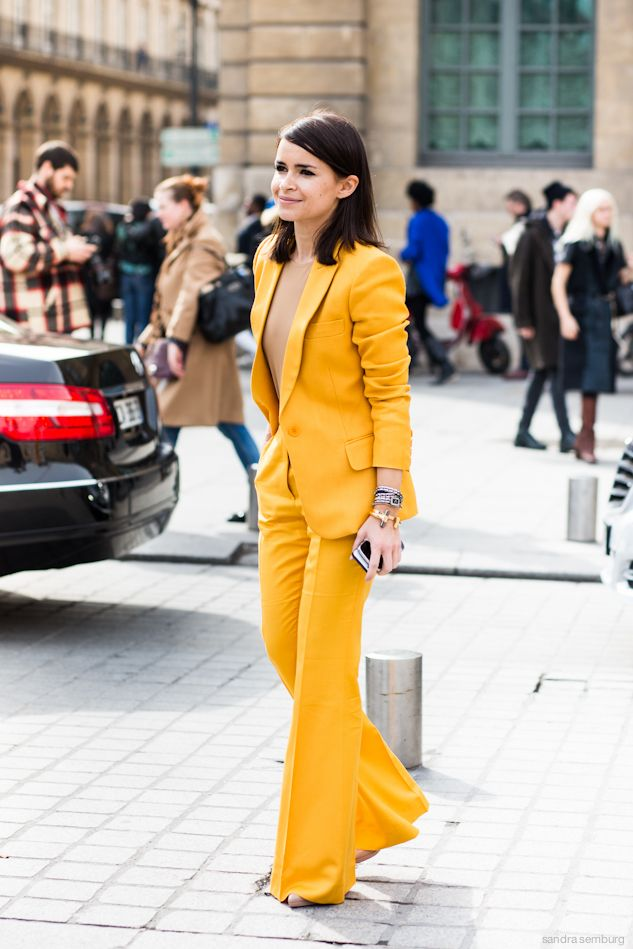 bright yellow suit
