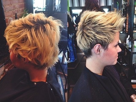 Short Spikey Hairstyle for Blond Ombre Hair