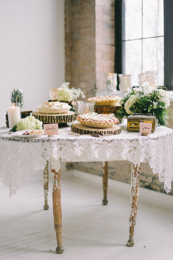 dessert table - photo by Jaimee Morse http://ruffledblog.com/woodland-romance-wedding