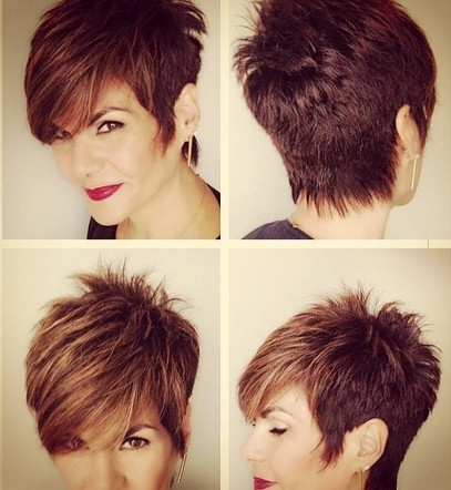Short Pixie Haircut with Long Side Bangs