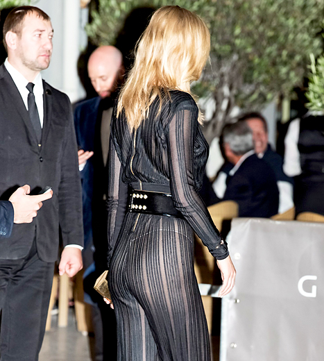 Toni Garrn showed off her thong undies in a sheer jumpsuit at the Cannes Film Festival on May 20.