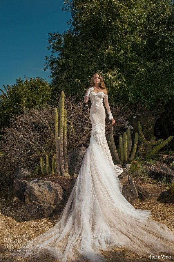 julie vino spring 2015 desert rose bridal collection martina wedding dress off shoulder illusion long sleeves full view train
