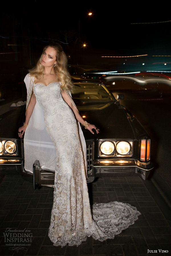 julie vino bridal spring 2015 empire brandy sheath wedding dress shown with cape