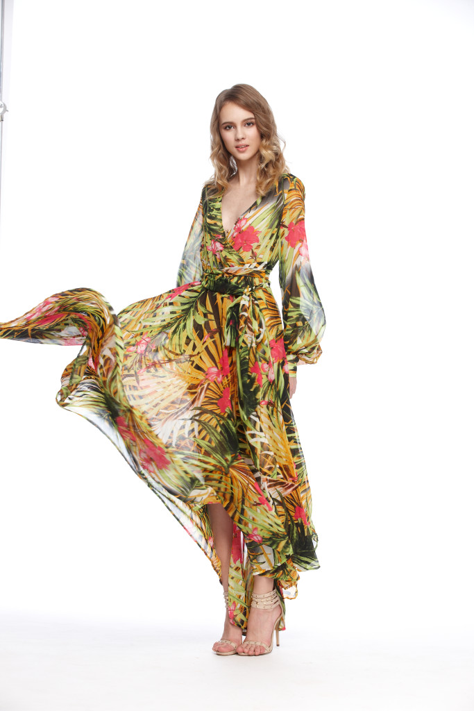 Deep V-neck tropical plants print waistband elegant full dress