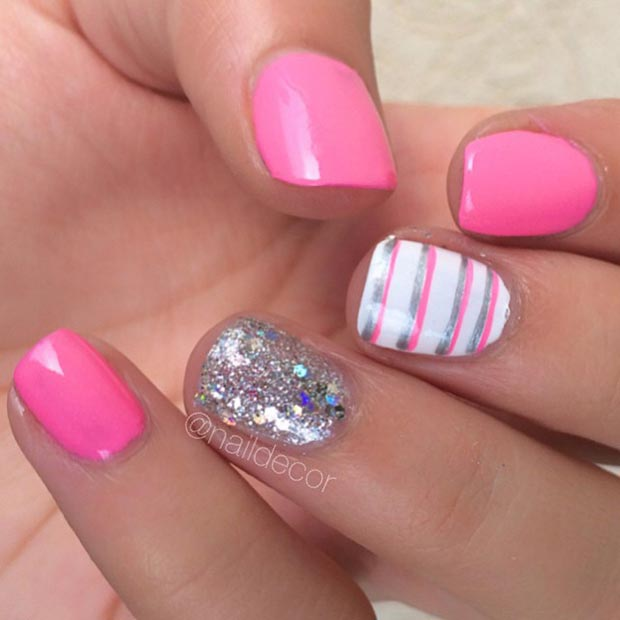 Pink-and-Sparkly-Silver-Nail-Design-for-Short-Nails