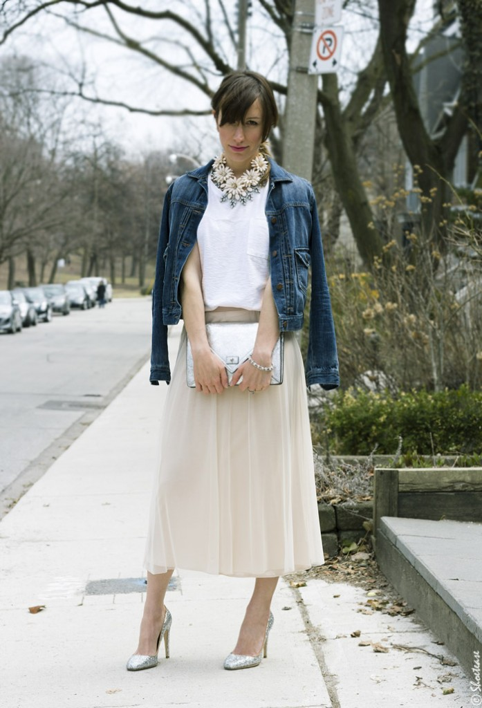 tulle skirt and denim jacket