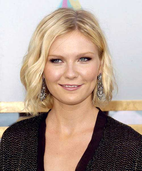 Kirsten Dunst Bob Hairstyle for Round Face