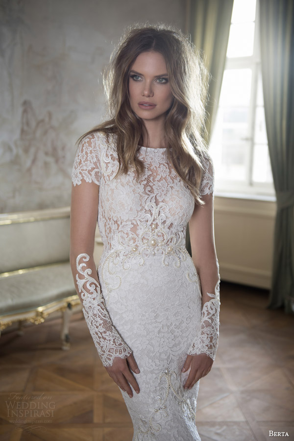 berta bridal fall 2015 illusion long sleeve high neck lace wedding dress close up bodice