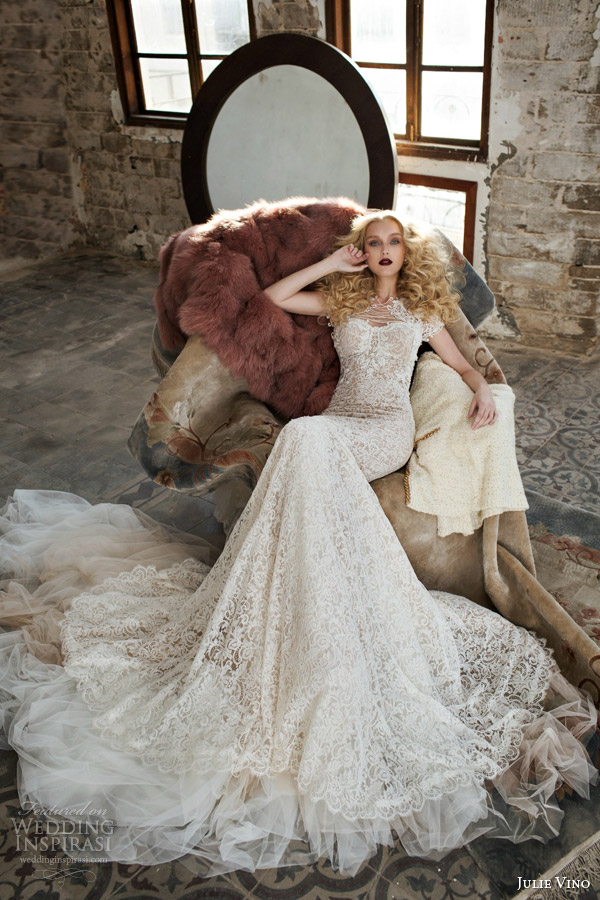 julie vino spring 2015 mystic dusk bridal collection antonia lace sheath wedding dress shown with cap sleeve topper