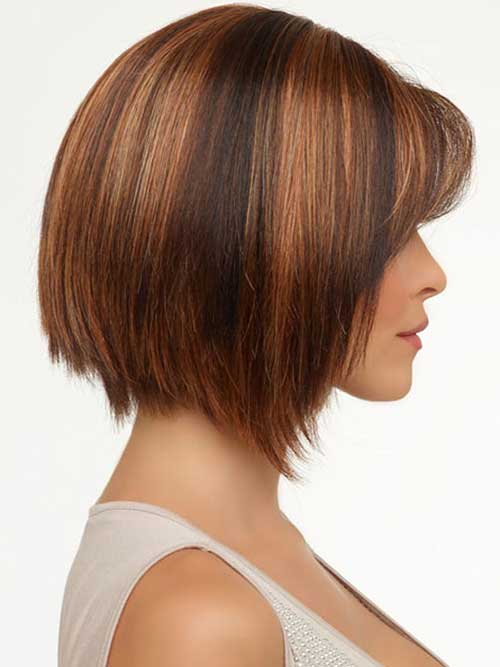 Brown Angled Bob with Side Bangs
