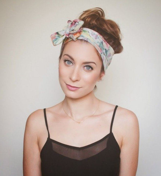 High Bun Hairstyle with Bandanna