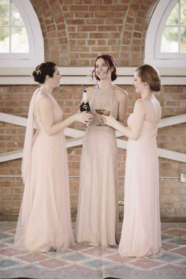 Blush maxi bridesmaids dresses | Mike Rose Photography | see more on: http://burnettsboards.com/2015/05/urban-spring/