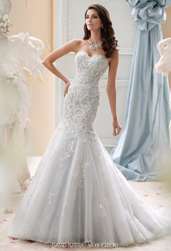 david tutera mon cheri spring 2015 style 115232 gia strapless wedding dress all over embroidered lace hand beaded applique seamist color