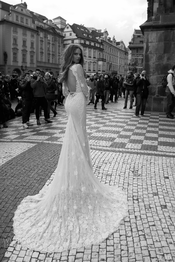 berta bridal fall 2015 lace wedding dress illusion long sleeve deep v neckline back view train