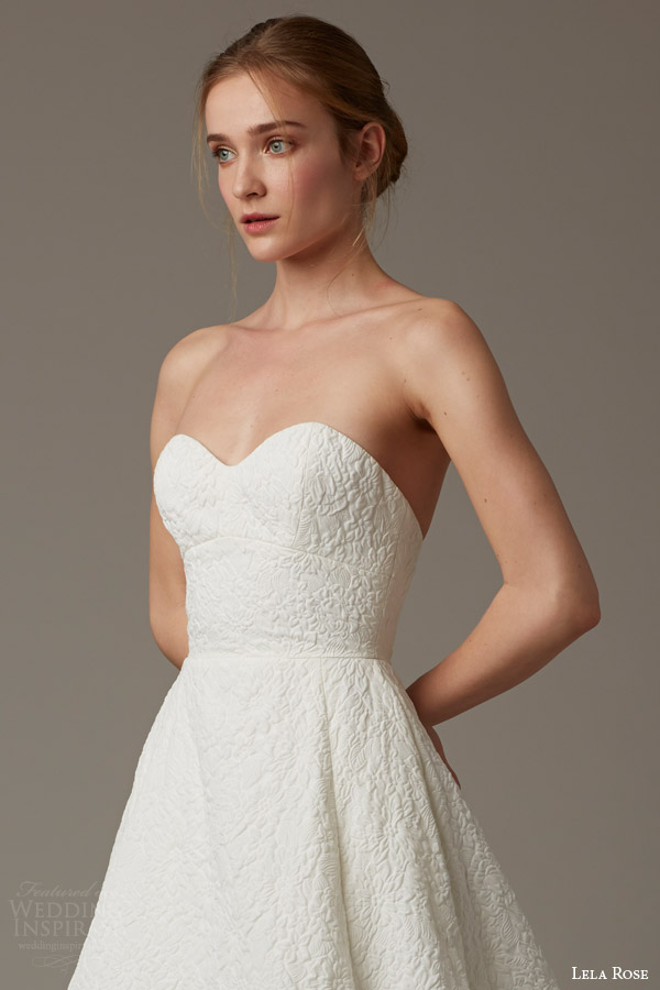 lela rose bridal spring 2016 cobble hil strapless sweetheart a line wedding dress flower textured
