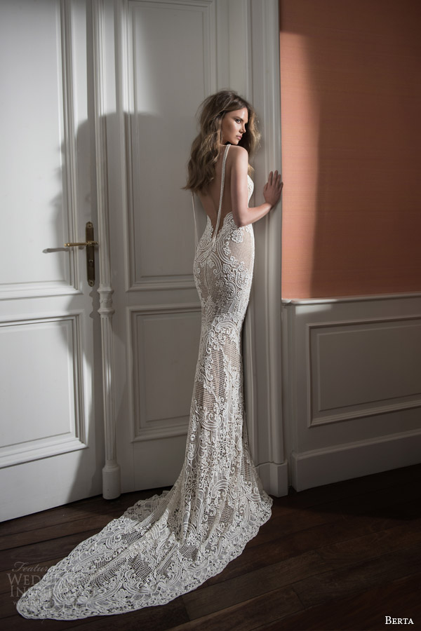 berta bridal fall 2015 illusion neckline lace sweetheart wedding dress back view draped pearl swag train