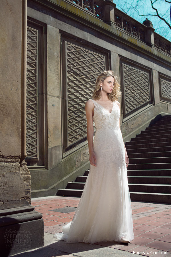 eugenia couture bridal spring 2016 campaign louisa sleeveless wedding dress illusion straps