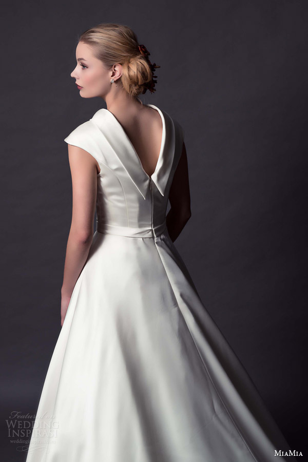 miamia bridal 2015 charlotte cap sleeve funnel neck ball gown wedding dress back view collar close up