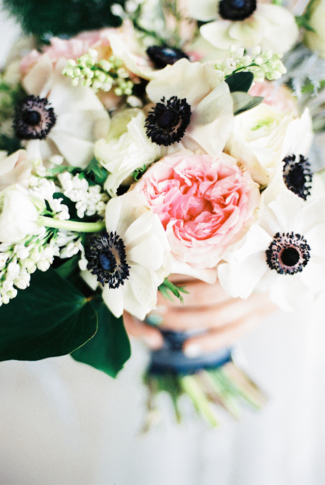 Anemone and peony bridal bouquet | Maria Levitska | see more on: http://burnettsboards.com/2015/05/cold-sea-shore-stormy-wedding-editorial/