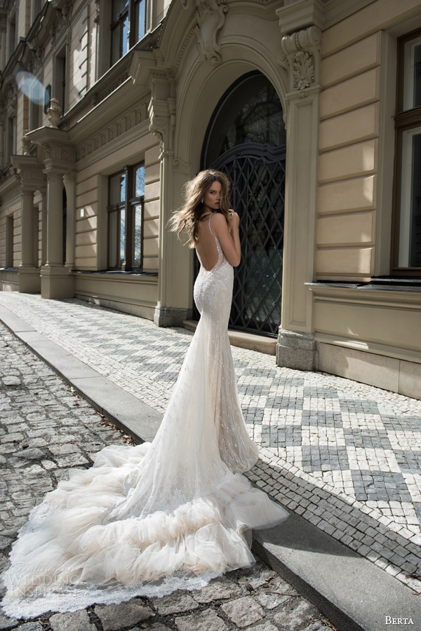 berta fall 2015 bridal sleeveless sheath wedding dress sequinned bodice back view frothy train