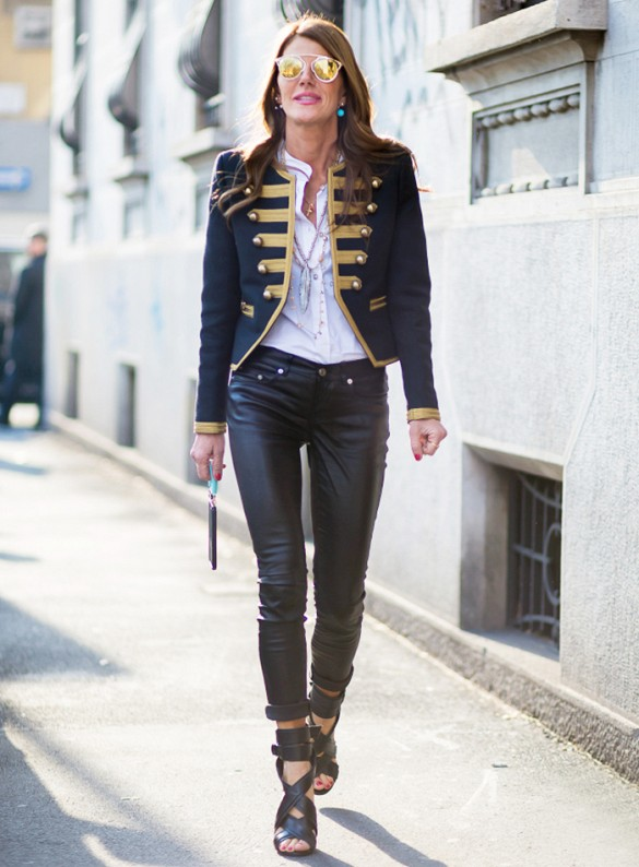silk blouse and band jacket