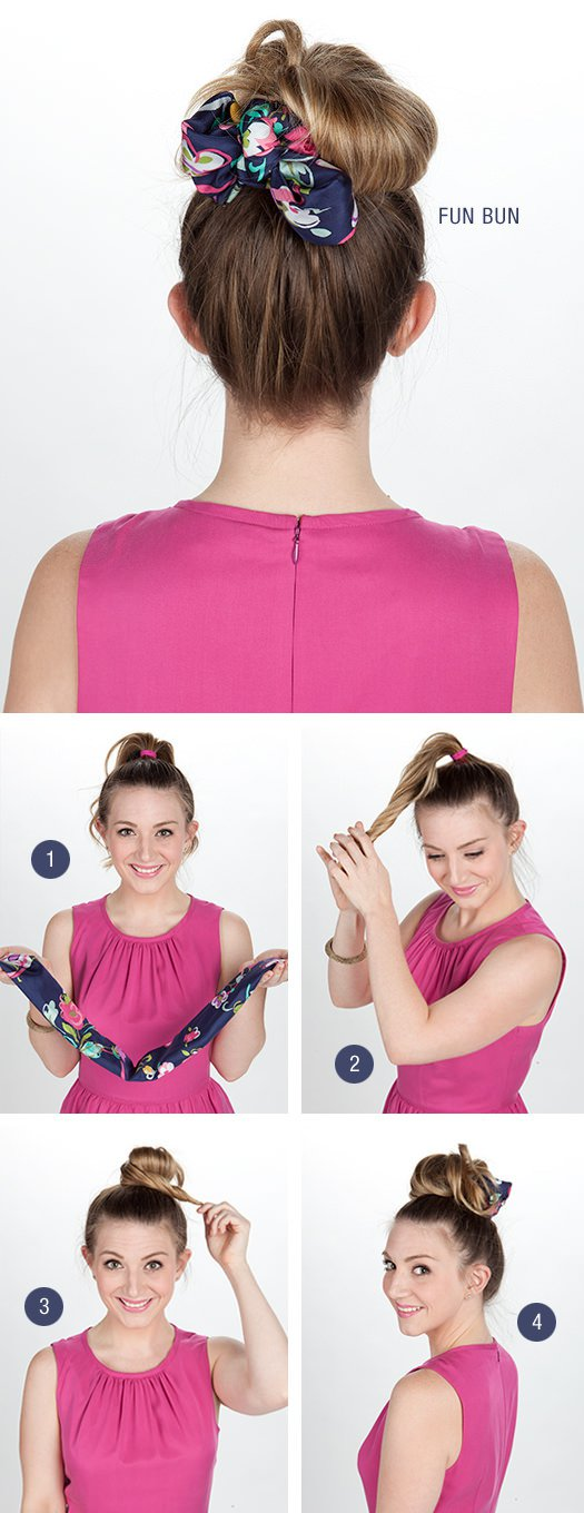 Top Bun Hairstyle with Scarf Bow