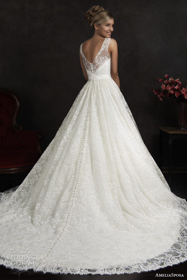 amelia sposa 2015 bridal maritza sleeveless a line lace wedding dress illusion neckline straps back view train