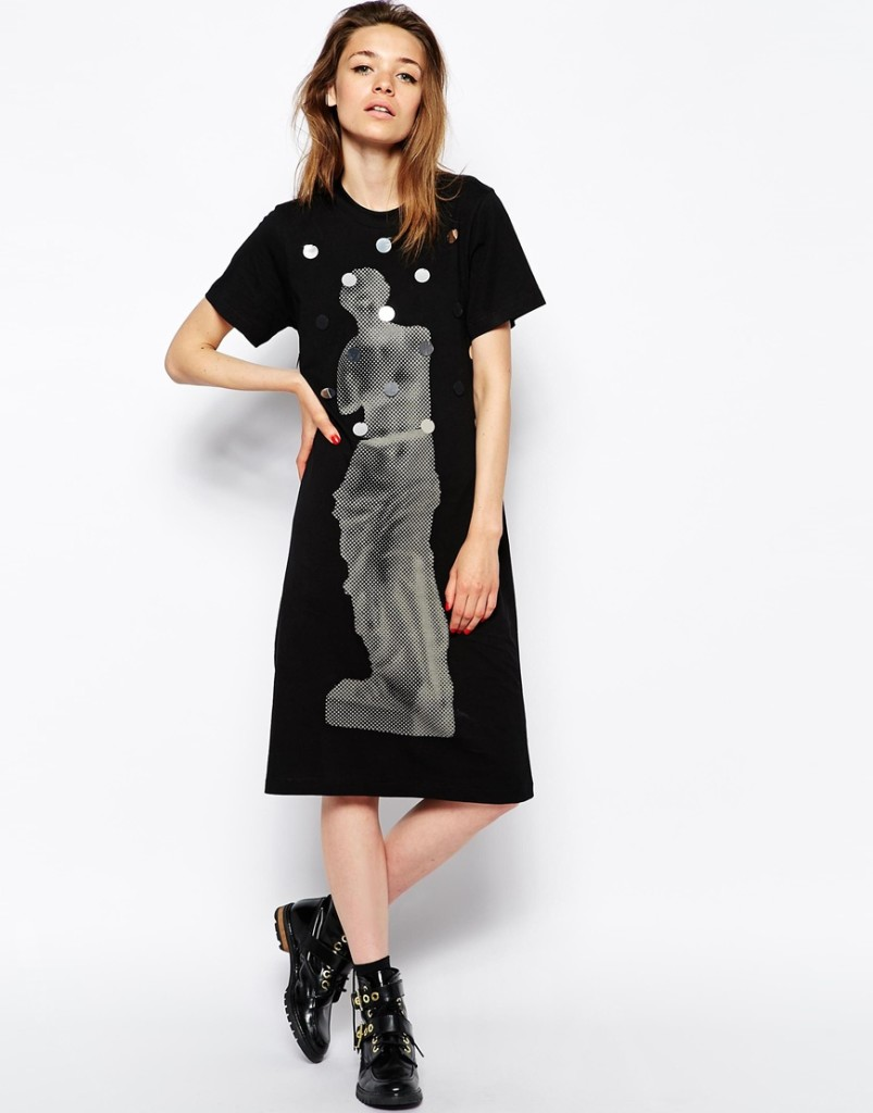 Short-sleeve handmade paillette medium-long black loose one-piece dress