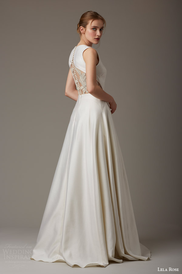 lela rose bridal spring 2016 green gable sleeveless wedding dress back view illusion embellishment