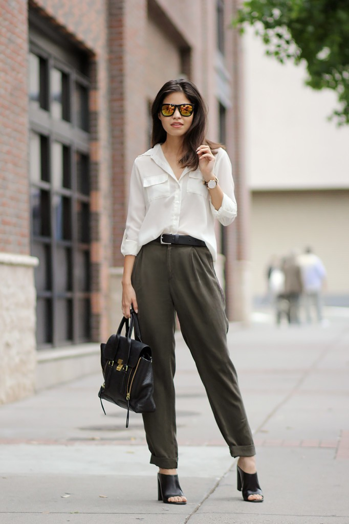 silk blouse and army pants mules