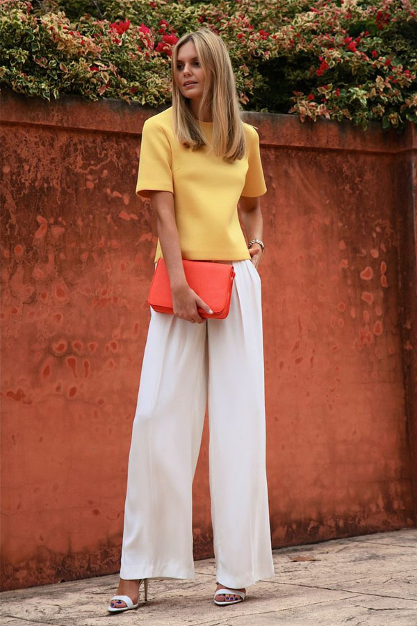 boxy yellow skirt and yellow wide legged pants