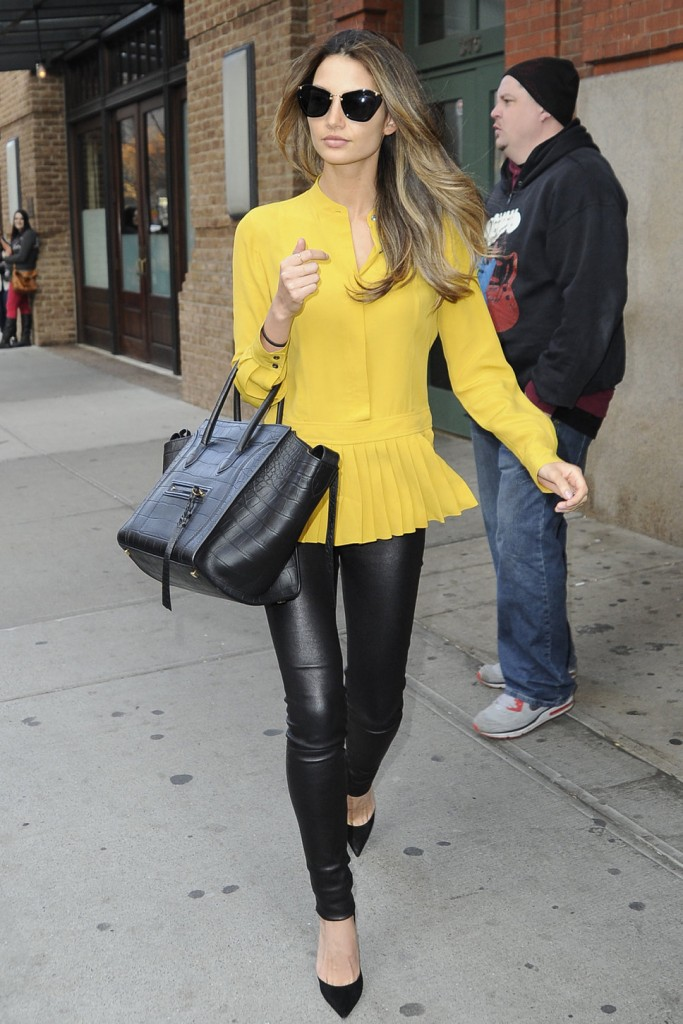yellow peplum top and leather pants