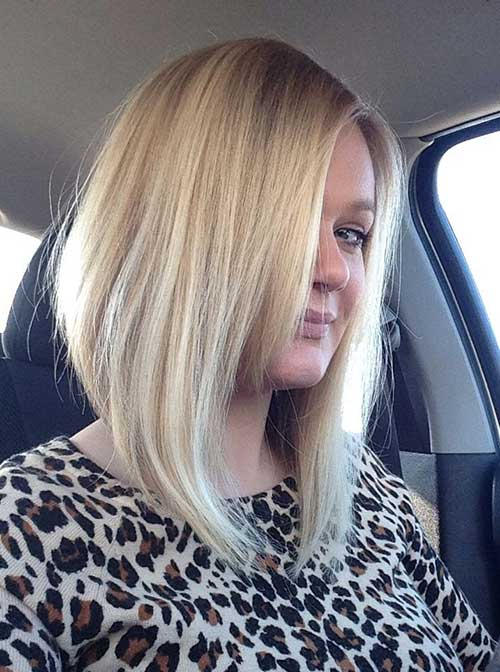 Long Angled Bob with Thin Side Bangs