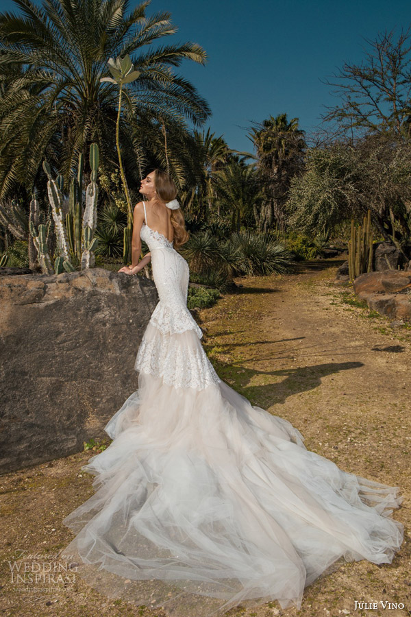 julie vino spring 2015 desert rose bridal collection nikita sleeveless lace wedding dress straps back view train