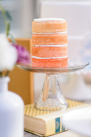 Ombre naked cake | The Veil Wedding Photography | see more on: http://burnettsboards.com/2015/05/whimsical-pastel-ombre-wedding-ideas/