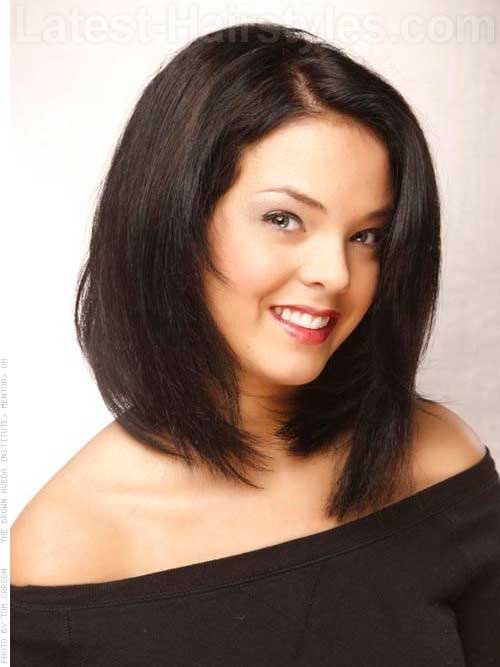 Asymmetrical Long Bob for Round Faces