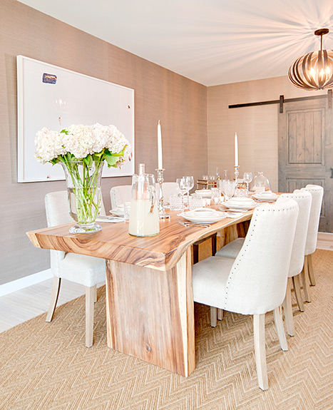 The dining room at Lauren Scruggs and Jason Kennedy's L.A. home.
