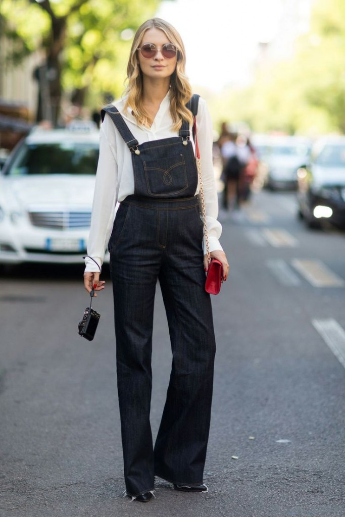 silk blouse and overalls black
