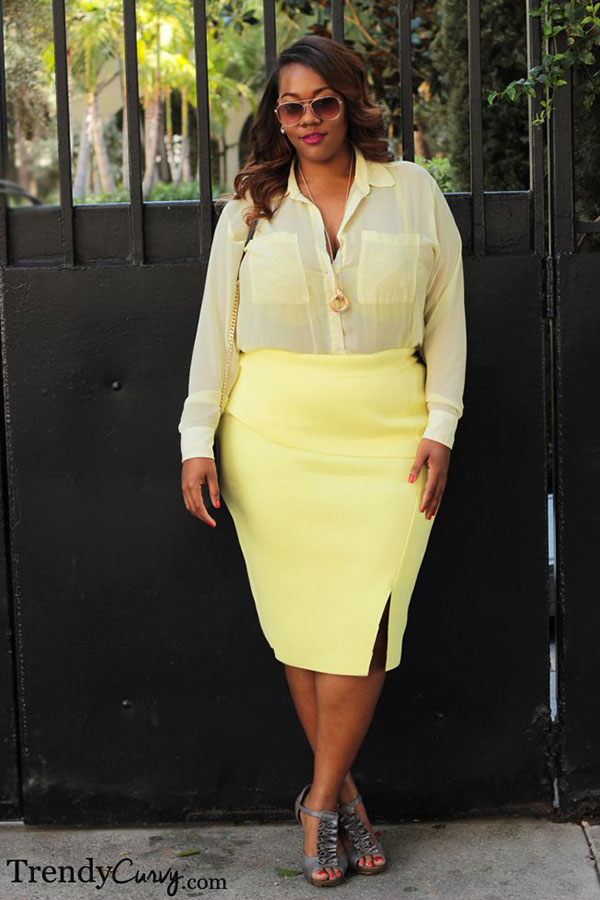 yellow on yellow sheer blouse and skirt