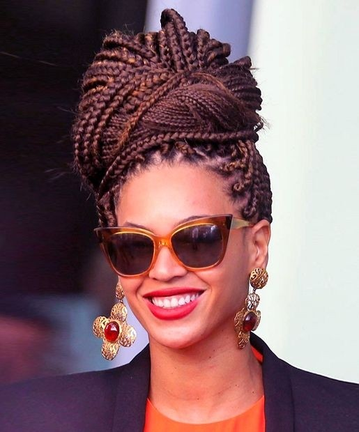 Stylish Box Braid Updo for African American Hairstyles