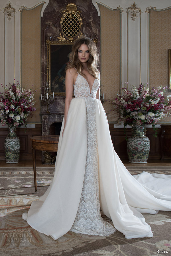 berta fall 2015 bridal sleeveless beaded sheath wedding dress straps beading overskirt