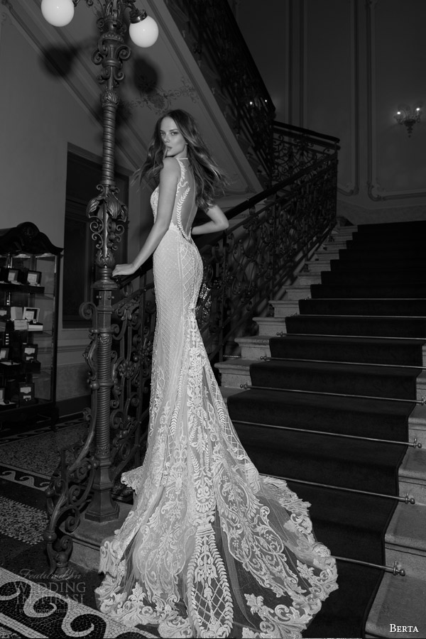 berta bridal fall 2015 beaded lace sheath wedding dress illusion neckline back view train