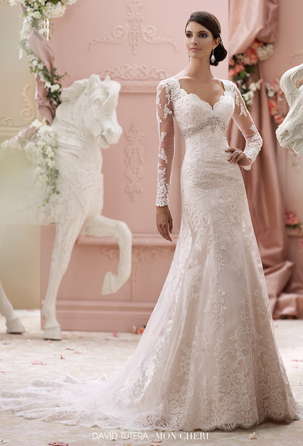 david tutera mon cheri spring 2015 style 115240 finley illusion long sleeve a line wedding dress embroidered lace tulle over satin jewel beaded empire waist