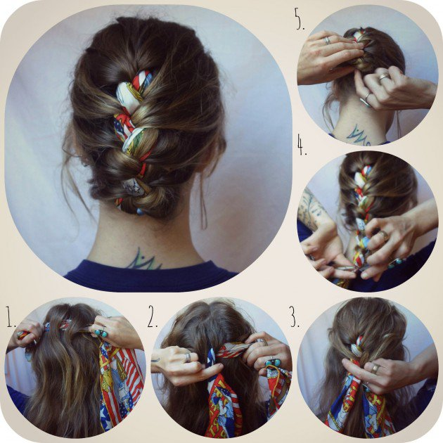 French Braided Bun with Scarf