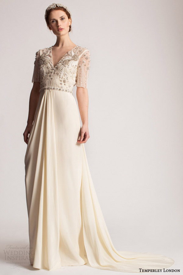 temperley london bridal spring summer 2016 hermione wedding dress illusion half sleeves v neckline embellished bodice