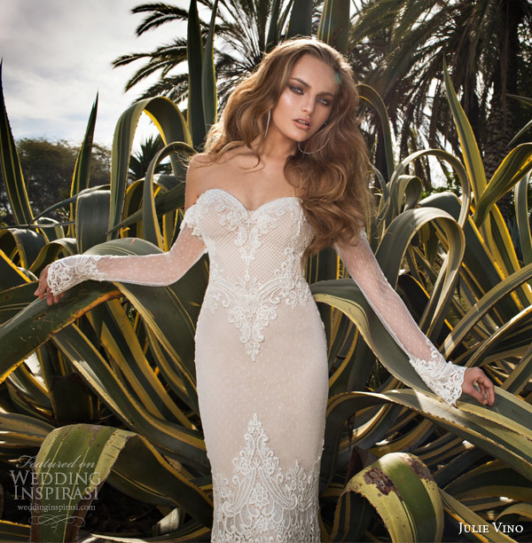 julie vino spring 2015 desert rose bridal collection martina wedding dress off shoulder illusion long sleeves