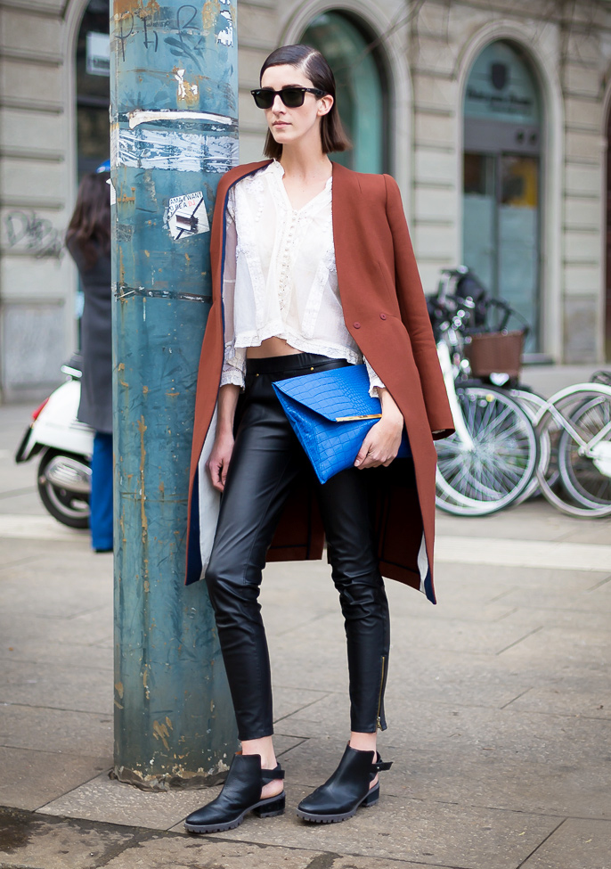 peasant blouse and leather pants