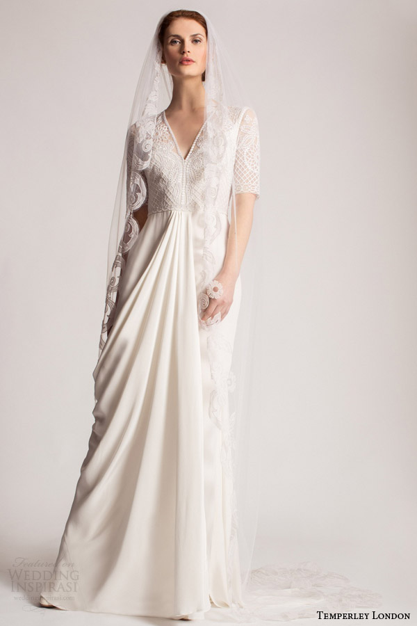 temperley bridal spring summer 2016 safina half sleeve wedding dress v neckline